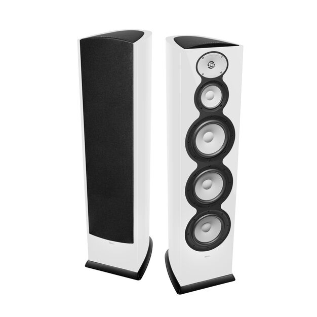 "F328Be - White Gloss - 3-Way Triple 8"" Floorstanding Loudspeaker - Hero"